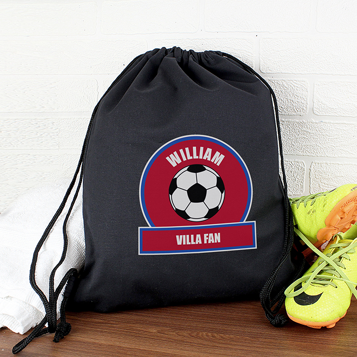 Personalised PE Kit Bag - Claret & Blue Football Theme