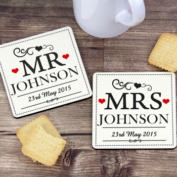 Personalised MR & MRS Coasters