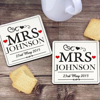 Personalised MRS & MRS Coasters