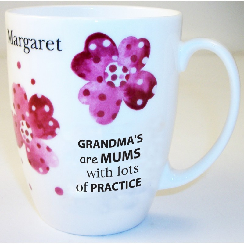 Pink Pansies Grandma Bone China Conic Mug