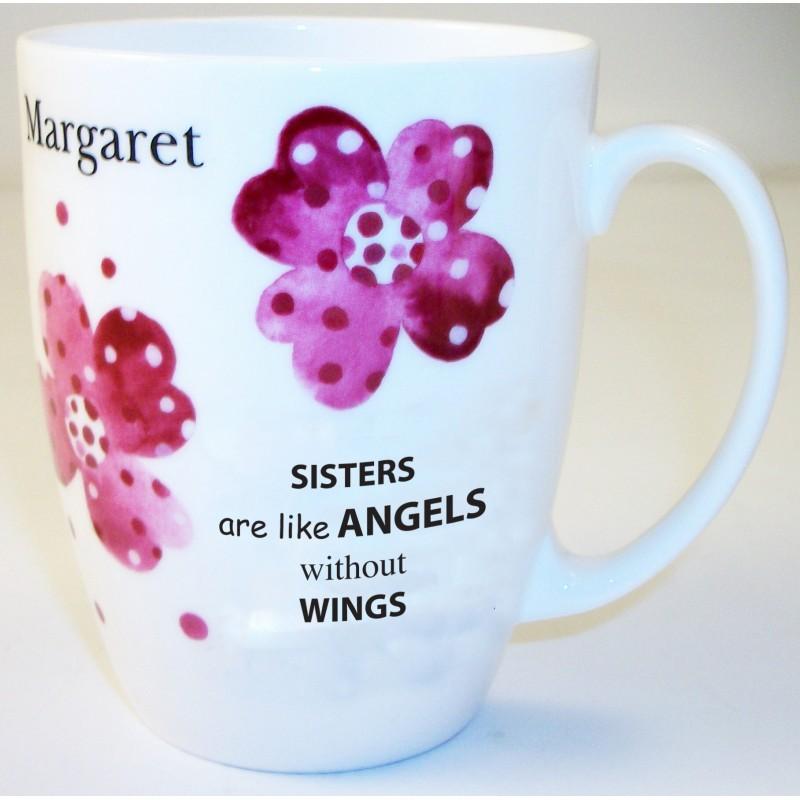 Pink Pansies Sister Bone China Conic Mug