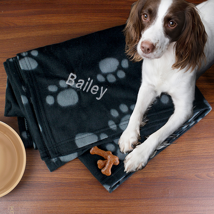 Personalised Dog Blanket - Dog Paw Print Fleece Blanket -