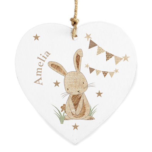 Personalised RABBIT Hanging Heart Baby Keepsake