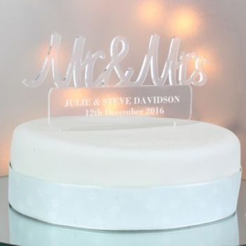 Personalised Acrylic Mr & Mrs Cake Topper