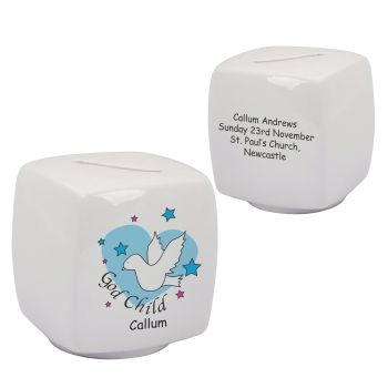 Personalised Godchild Bone China Moneybox