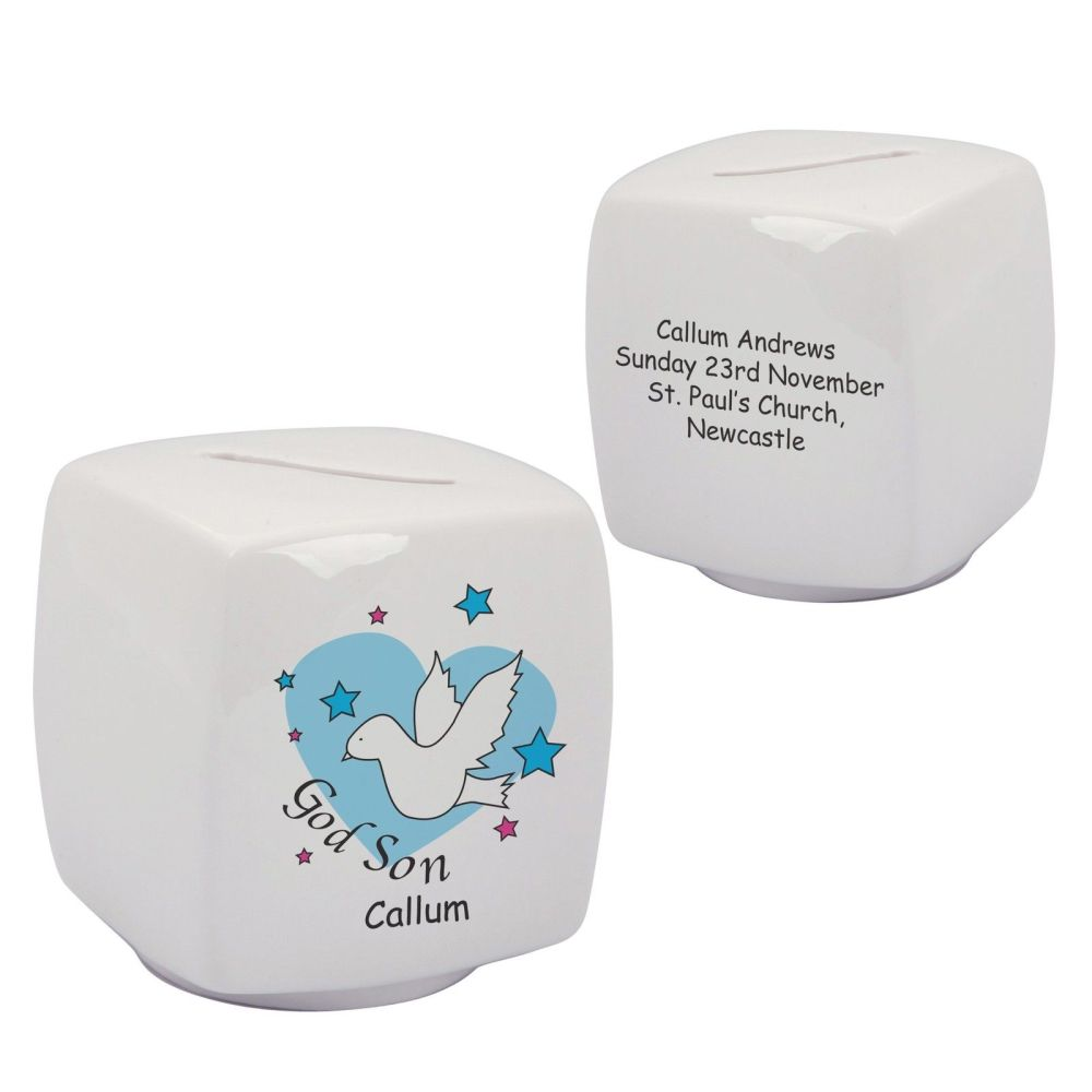 Personalised Godson Bone China Moneybox