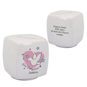 Personalised Goddaughter Bone China Moneybox