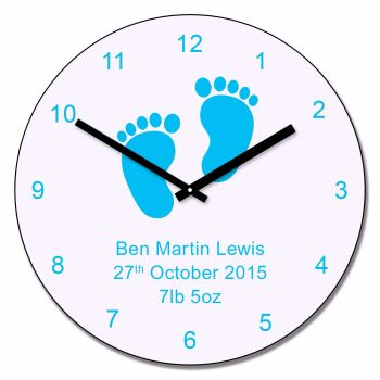 Personalised Blue Baby Feet Wall Clock