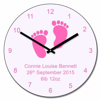 Personalised Pink Baby Feet Wall Clock