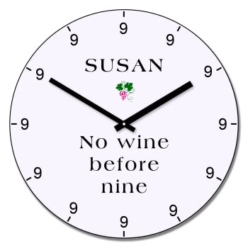 Personalised No wine before nine wall clock