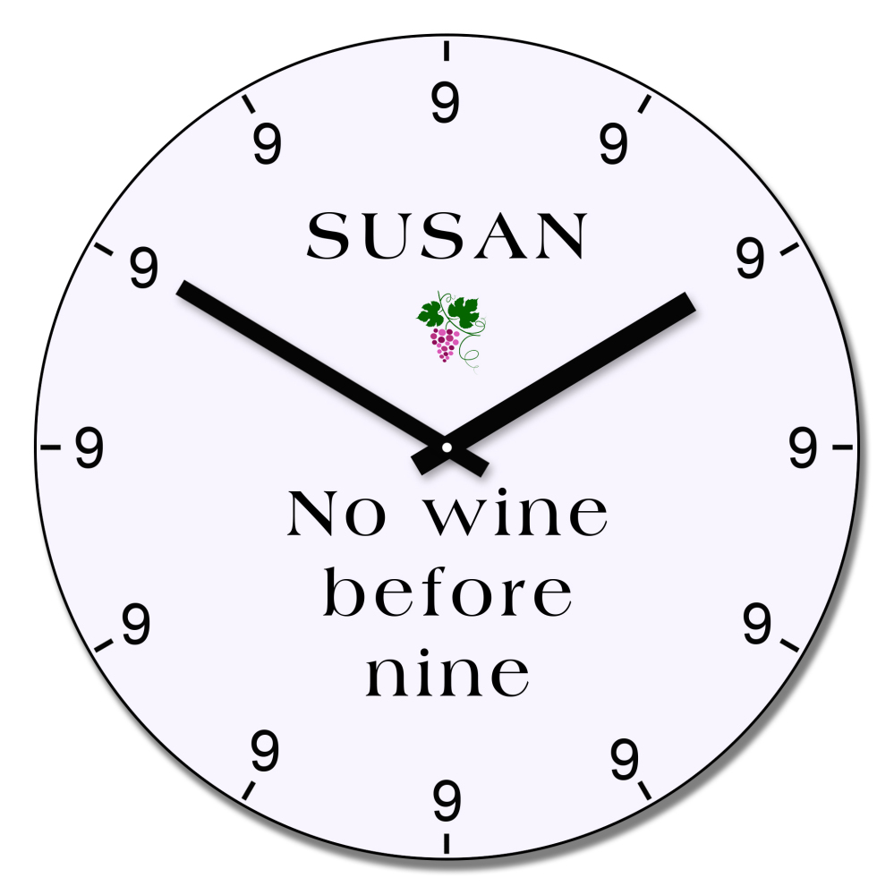 Personalised No wine before nine wall clock