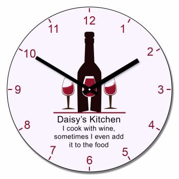 Personalised I Cook with Wine clock