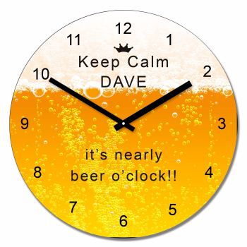 Personalised Keep calm its nearly beer oclock wall clock