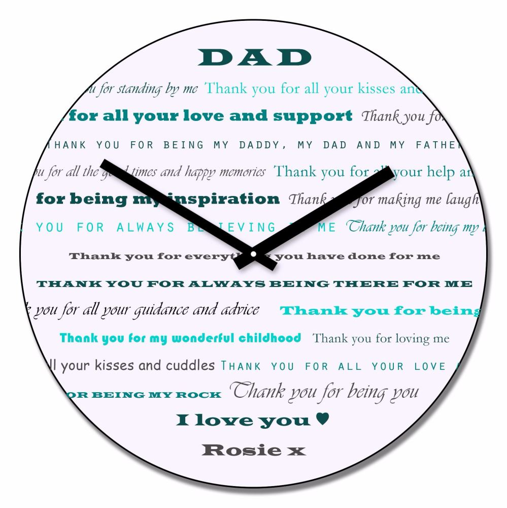 Personalised DAD Thank You Wall Clock