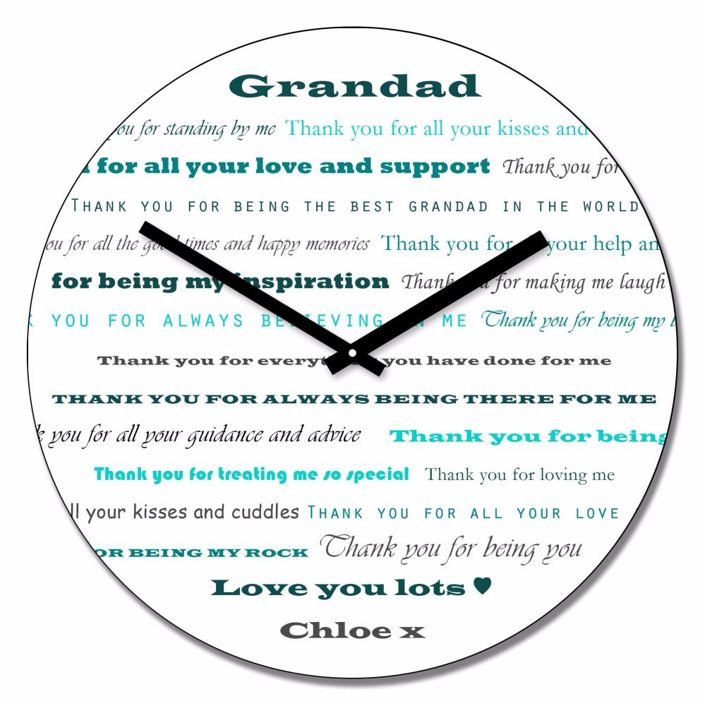 Personalised GRANDAD Thank You Wall Clock