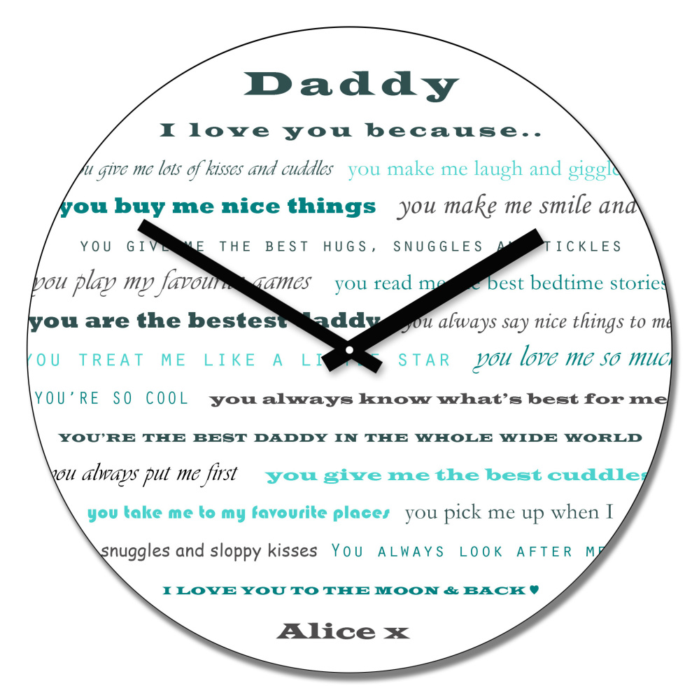 Personalised Daddy I Love You Wall Clock