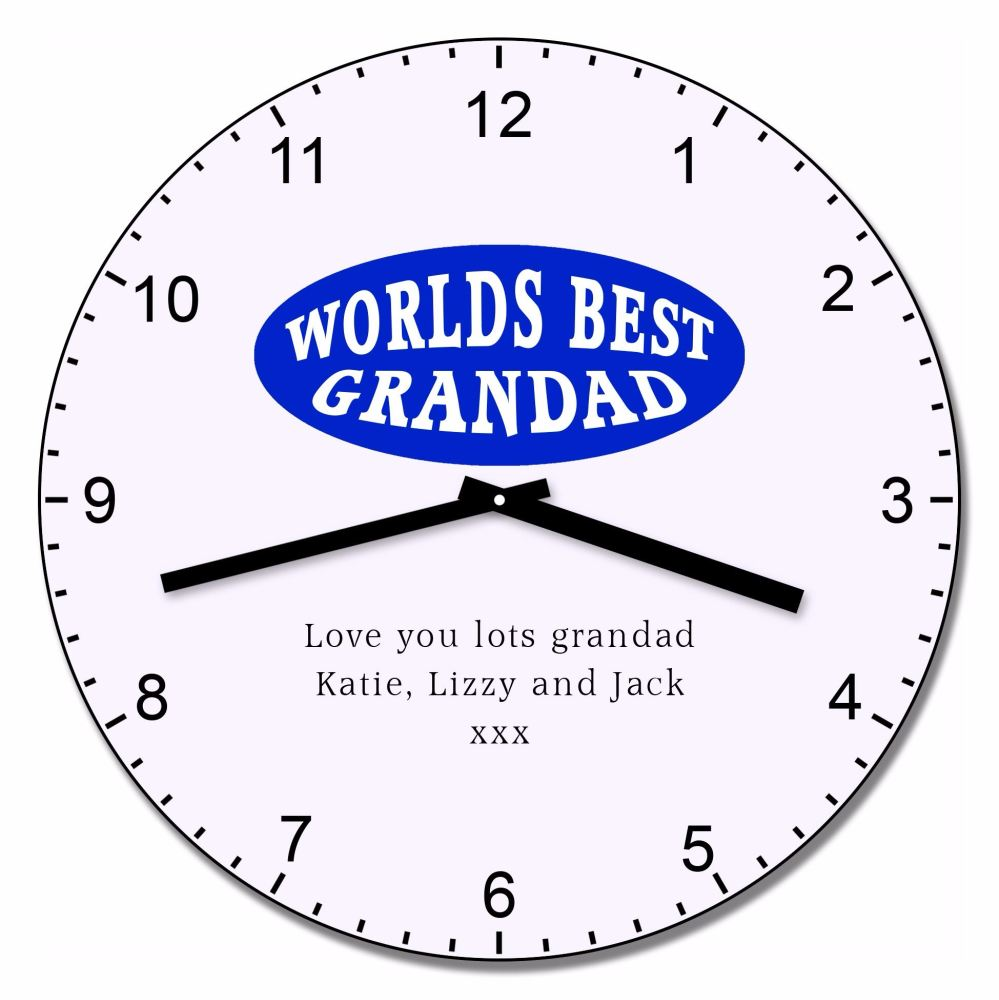Personalised Worlds Best Grandad Wall Clock