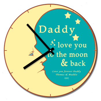 Personalised Daddy Love You To Moon & Back Wall Clock