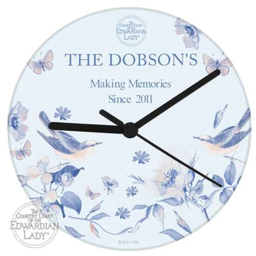 Personalised BLUE BLOSSOM WALL CLOCK