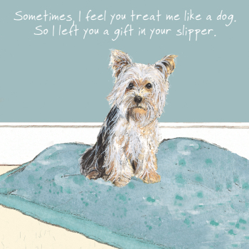 Open / Blank Yorkshire Terrier Greeting Card - Slipper Gift