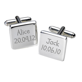 Personalised Names & Birthday Cufflinks