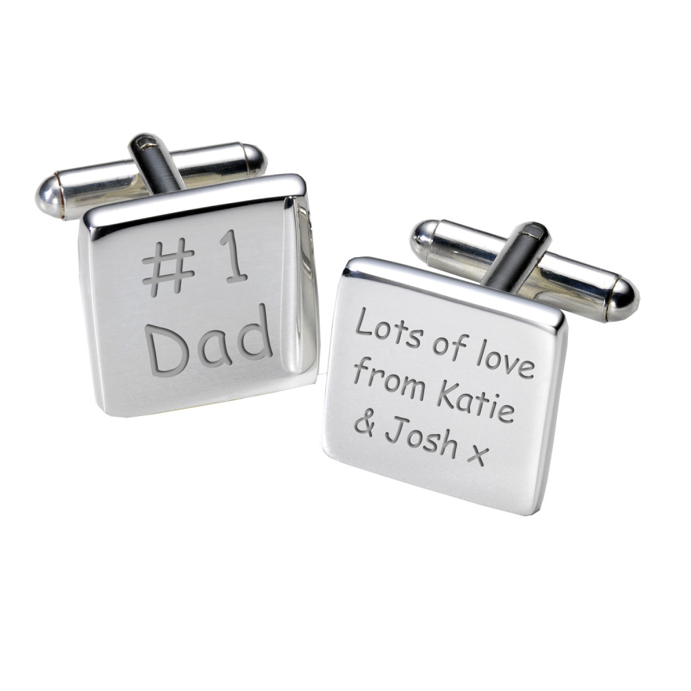 Personalised #1 Dad Cufflinks
