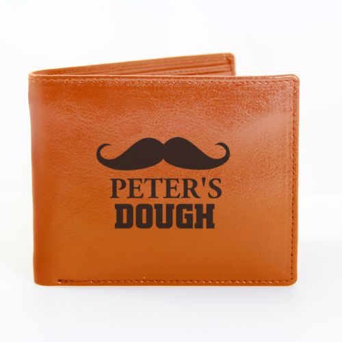Personalised MOUSTACHE LEATHER WALLET