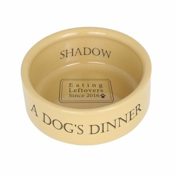 Personalised Pet Bowl - Dog's Dinner Medium Brown Dog / Puppy Bowl