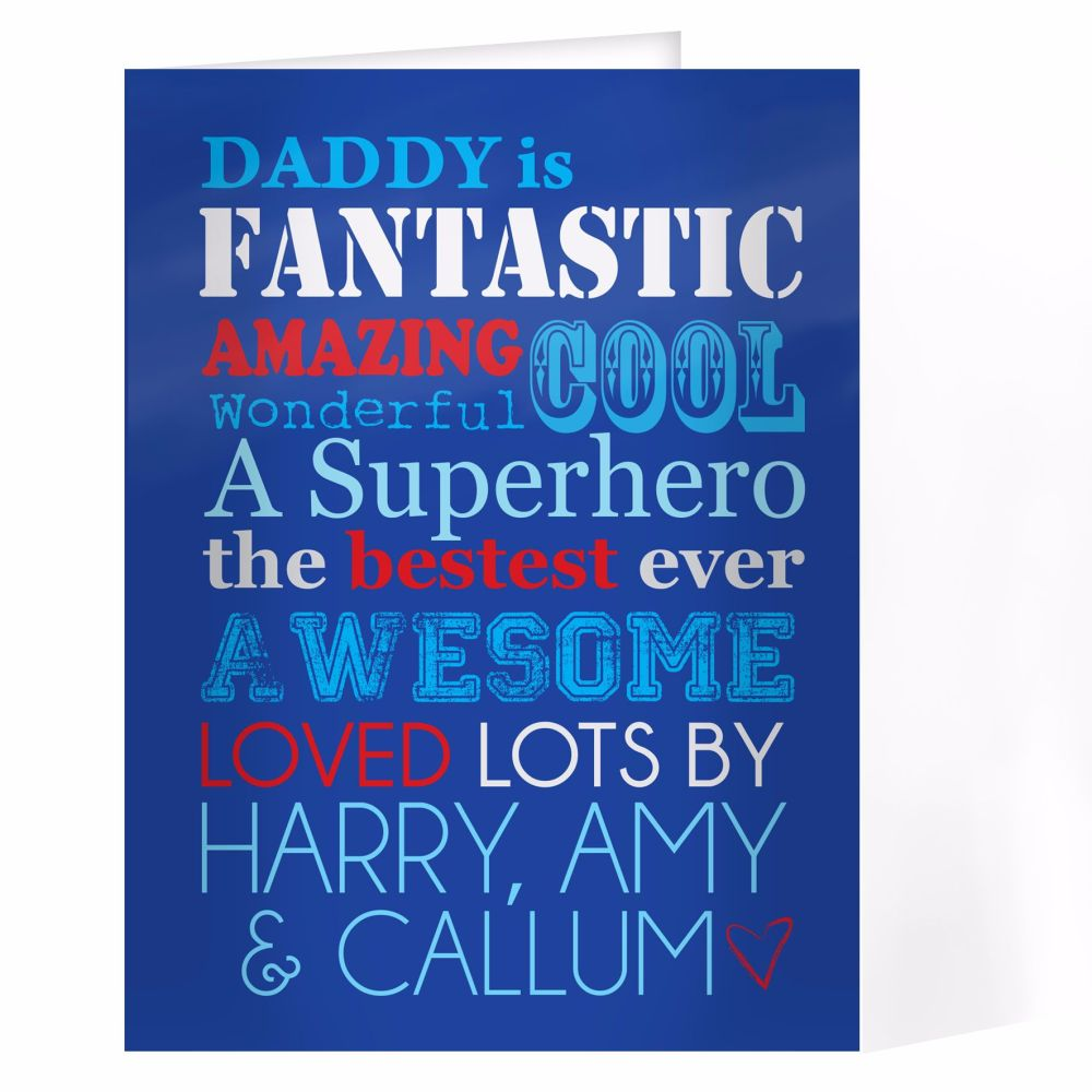 Personalised He Is... Card Ideal for Birthdays & Father's Day