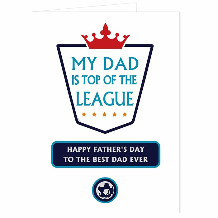 Personalised Top of League Card Ideal for Birthdays & Father's Day