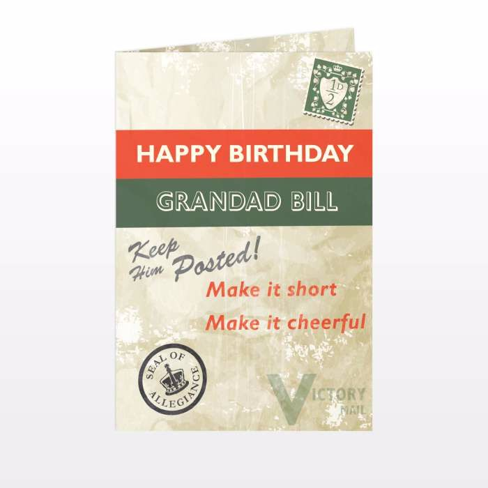 Personalised Nostalgia Card Ideal for Birthdays & Father's Day