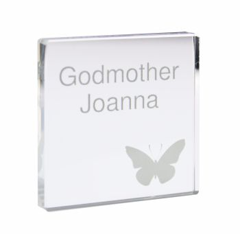 Personalised Butterfly Grey Small Crystal Token