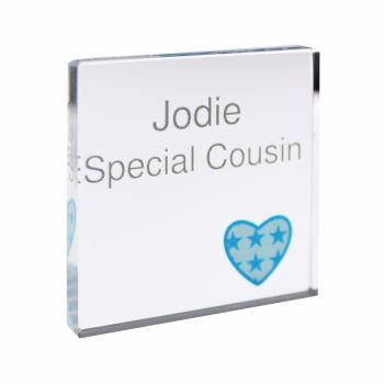 Personalised Heart Blue Small Crystal Token