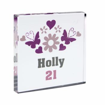 Personalised Flowers & Butterflies Glass Block / Token - Small