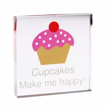 Personalised Cupcake Glass Block / Token - Small