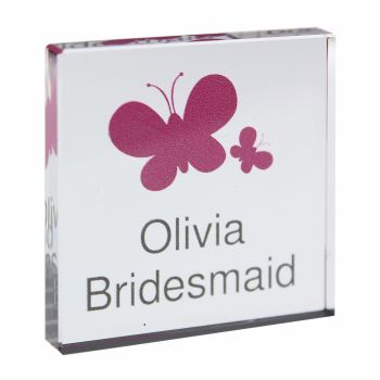 Personalised Butterflies Glass Block / Token - Small