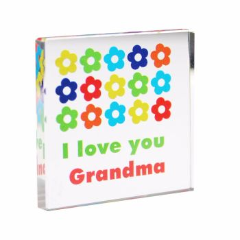 Personalised Bright Flower Glass Block / Token - Small