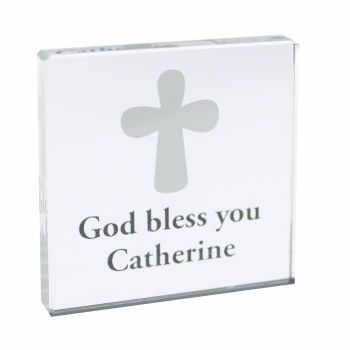Personalised Cross Glass Block / Token - Small