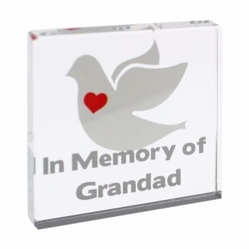 Personalised Dove Glass Block / Token - Small