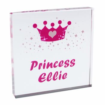 Personalised Crown Glass Block / Token - Small