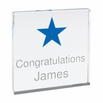 Personalised Blue Star Small Crystal Token