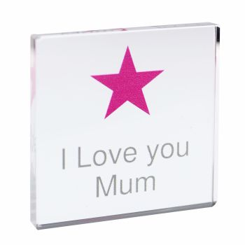 Personalised Pink Star Glass Block / Token - Small