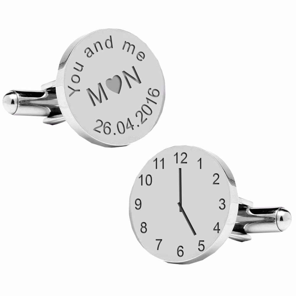 You and me Initials ..special time cufflinks