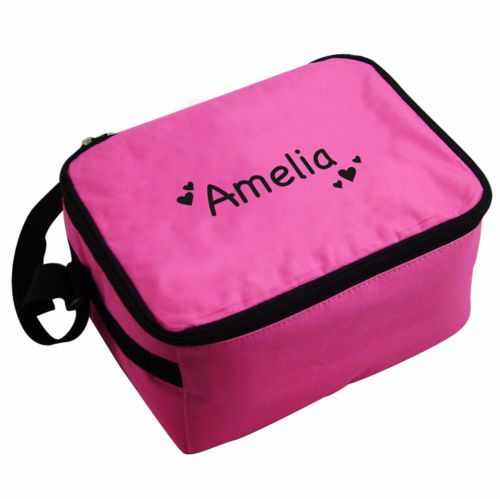 Personalised Insulated Lunch Bag - Pink & Black