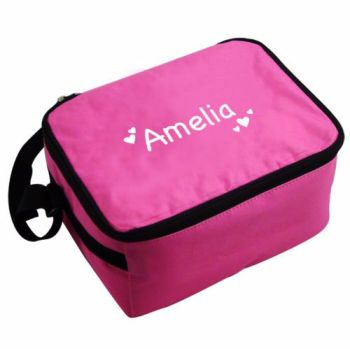 Personalised Insulated Lunch Bag - Pink & White
