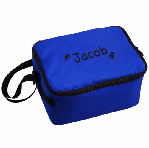 Personalised Insulated Lunch Bag - Blue & Black
