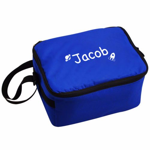 Personalised Insulated Lunch Bag - Blue & White