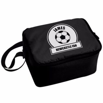 Personalised Insulated Lunch Bag - Black & White Football Theme