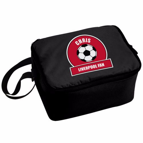Personalised Insulated Lunch Bag - Red & White Football Theme