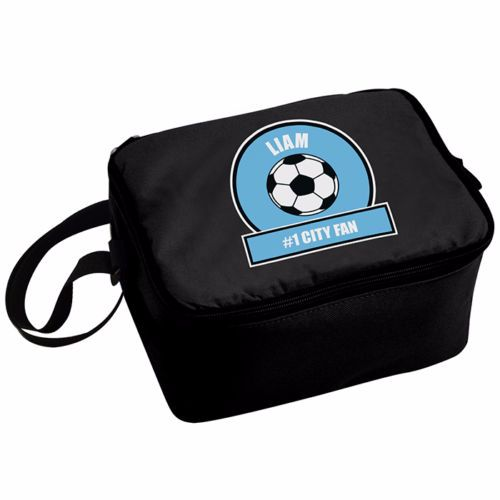 Personalised Insulated Lunch Bag - Sky Blue & White Football Theme